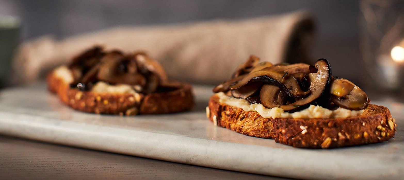 Stonemill Bakehouse Multigrain Miso Mushroom & White Bean Tartine