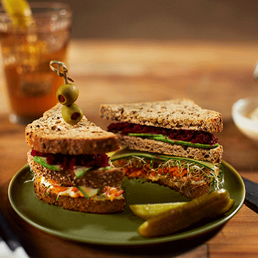 Stonemill Bakehouse Vegan Triple Decker Club with Sprouted Flax and Chia and Supergrains